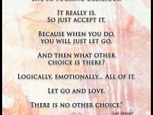 Let go and love… There is no other choice.